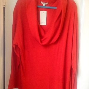 Sejour Red Cowl Neck Sweater Long NWT 2x